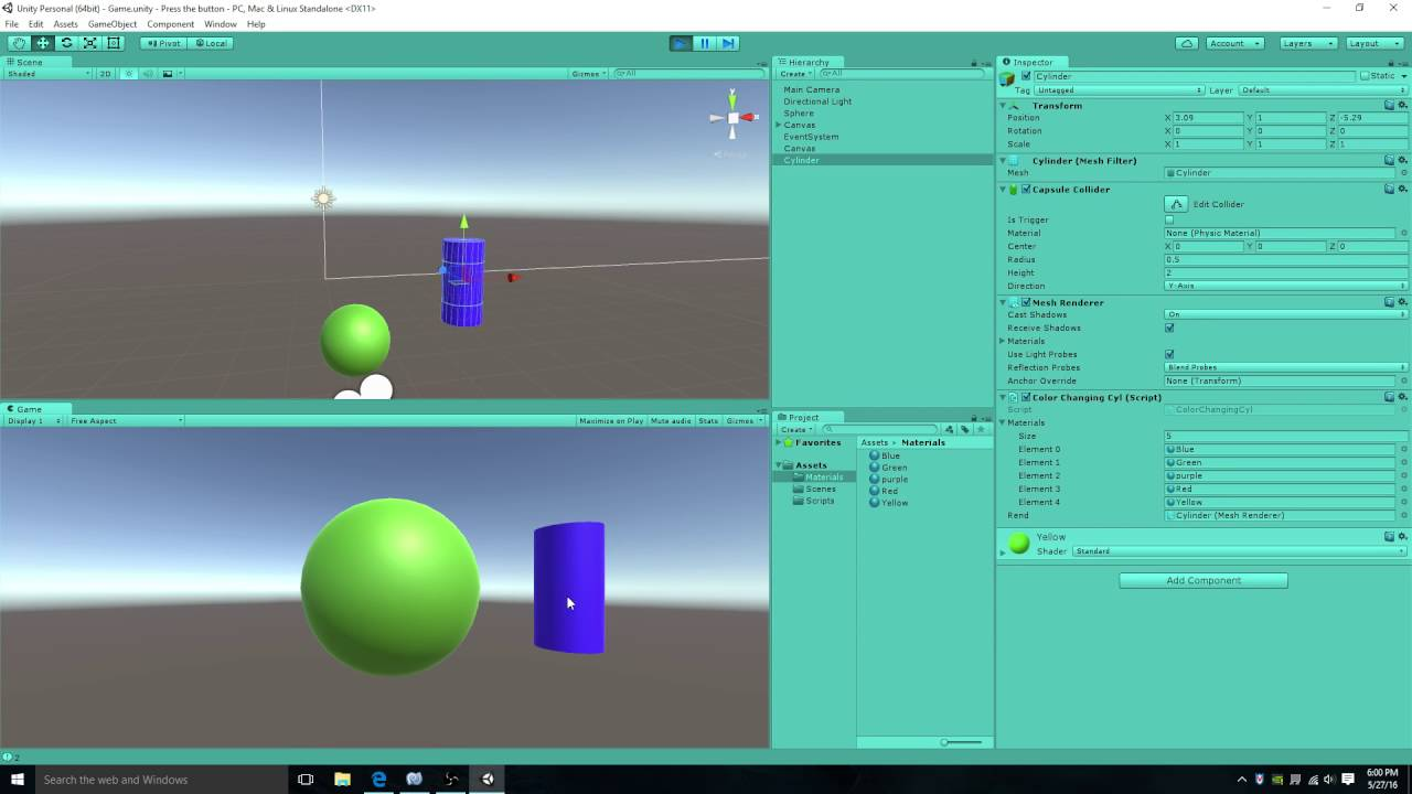 Change color of a game object when clicking on it![unity 5]