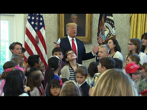 Trump Gives WH Reporters' Kids Oval Office Tour