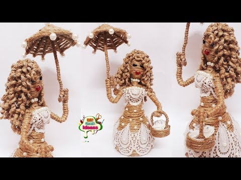 how to make a doll out of waste material | jute dolls handicraft | jute doll making
