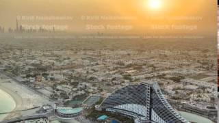 Sunrise. Aerial View of Jumeirah Beach from Burj Al Arab, Dubai, UAE timelapse
