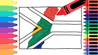 How to Draw South Africa Flag - Drawing the South African Flag for kids | Tanimated Toys