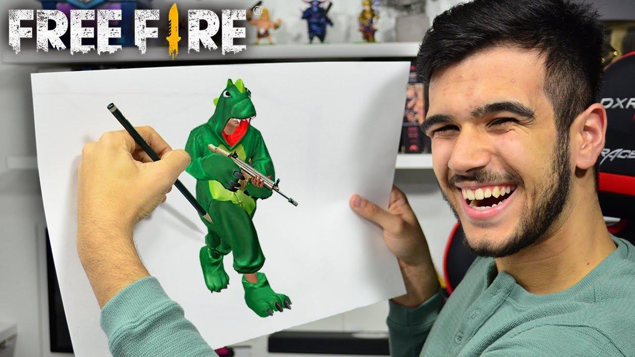 Free Fire Desenhei A Incrivel Skin Do Dinossauro Youtube