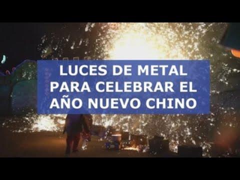 Luces de metal para celebrar el Año Nuevo Chino