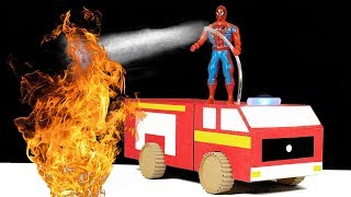 How to make RC Fire Truck from Cardboard at Home