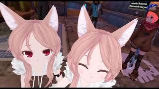 VRChat Moments - Cute twin anime girls with fluffy ears