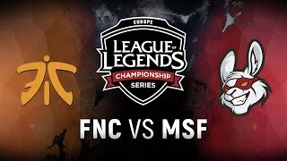 FNC vs. MSF - Semifinals Game 1 | EU LCS Summer Playoffs | Fnatic vs. Misfits Gaming (2018)