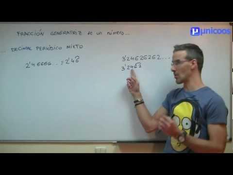 Fraccion generatriz de un decimal periodico mixto SECUNDARIA (2ºESO) matematicas