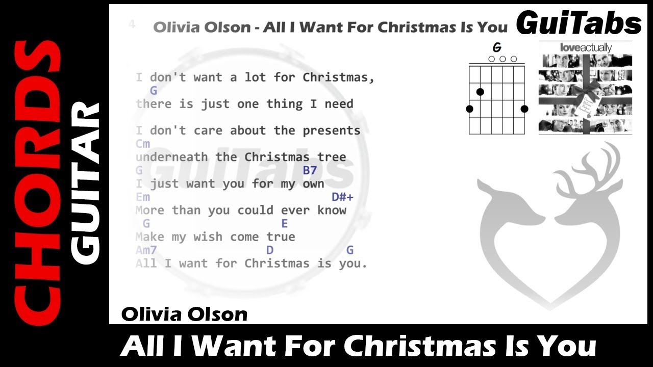 all i want for christmas is you lyrics guitar chords - All I Want For Christmas Guitar Chords