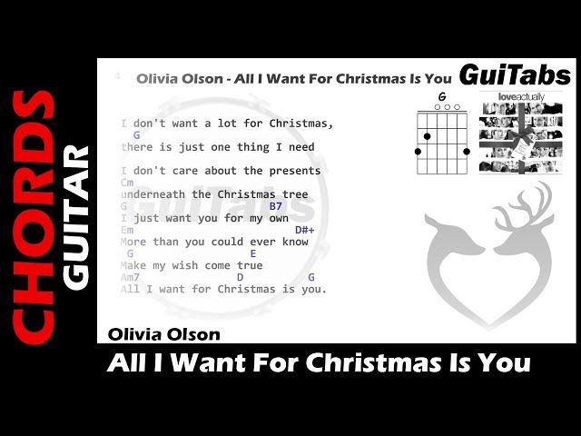 youtube - All I Want For Christmas Guitar Chords