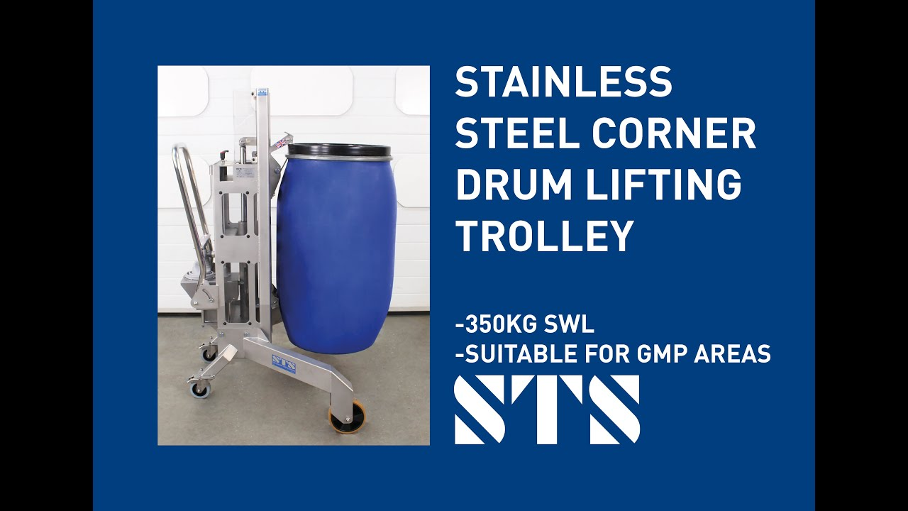 Stainless Steel Corner Drum Lifting Trolley