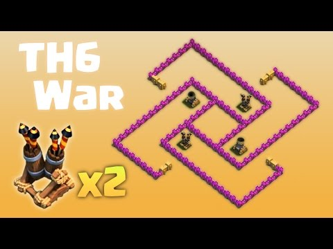 TH6 War Base - 2 Air Defenses - Anti Everything - 2016 update - Clash of Clans