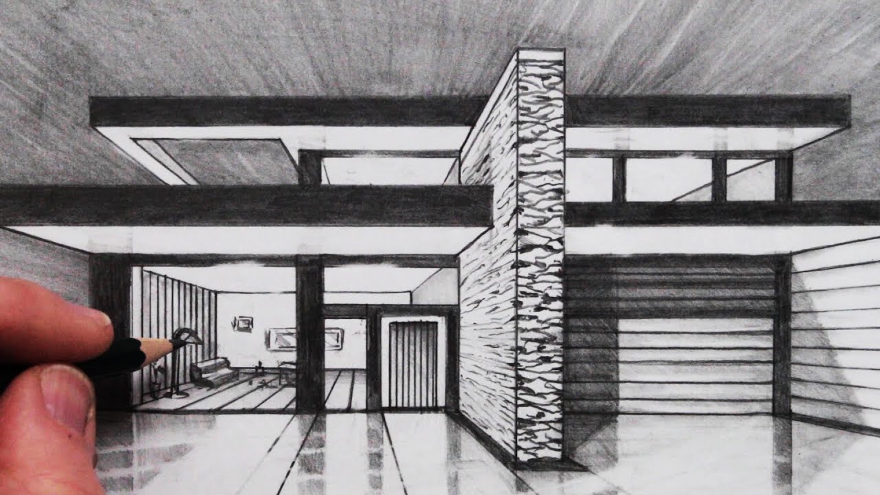 How to draw a house in 1 point perspective vanishing point