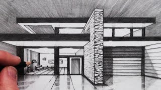 How to Draw a House in 1-Point Perspective: Vanishing Point