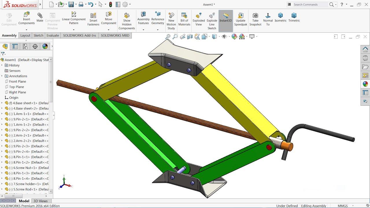 Design of car jack - Solidworks Tutorial Design And Assembly Of Car Jack In Solidworks Solidworks
