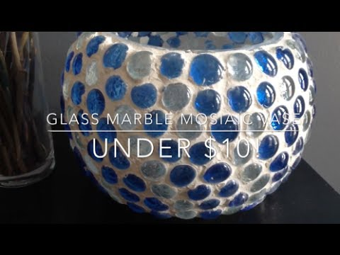 Diy Glass Marble Mosaic Vase ♡ Patio Decor ♡ Jessica