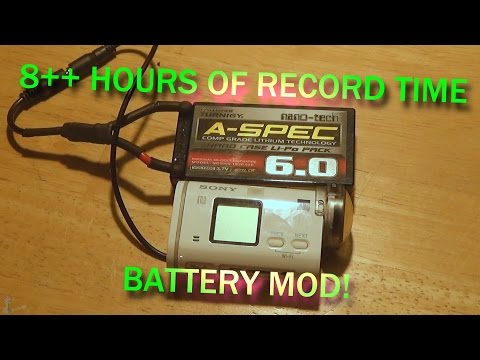 External Battery Mod for Sony Action Cams (AS200V) 8 + hours of record time