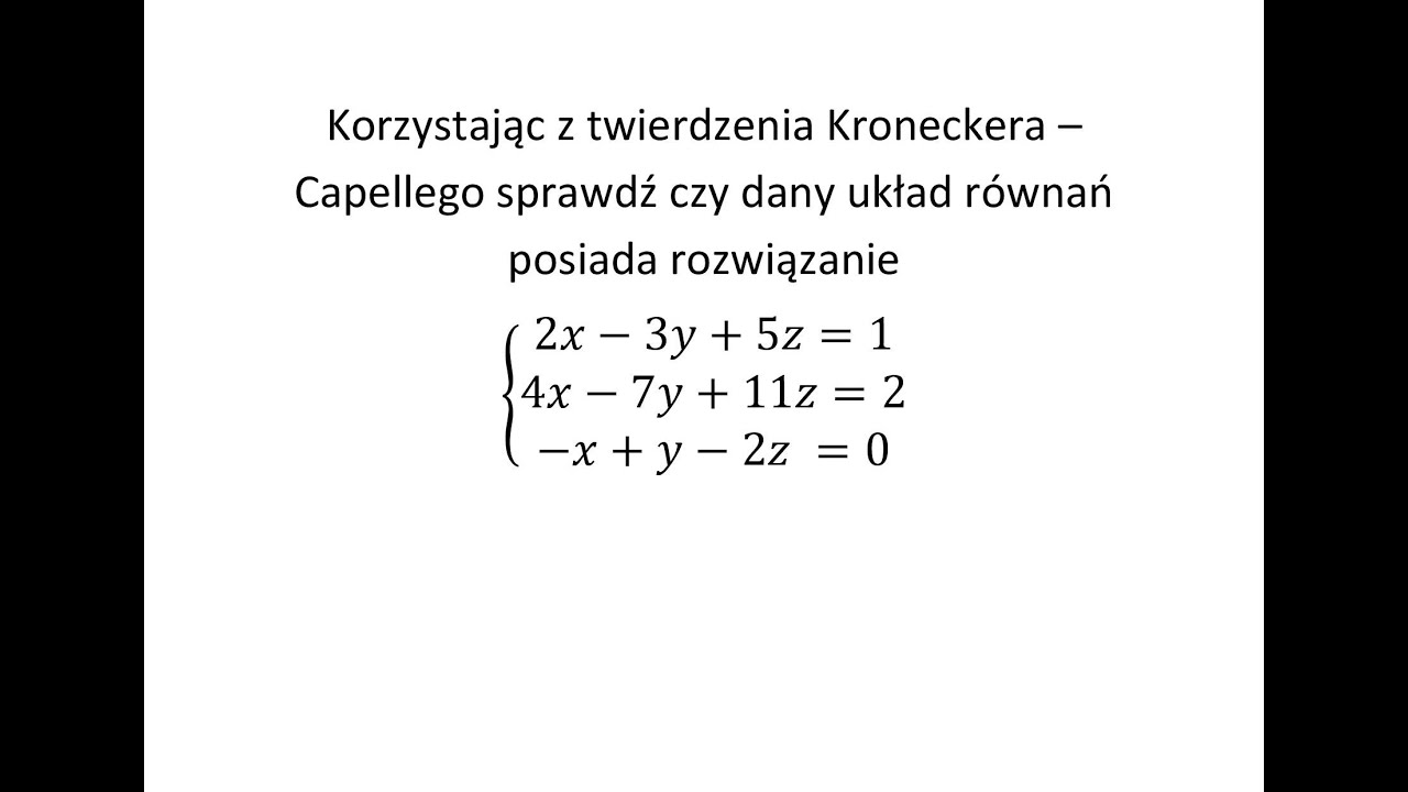 TWIERDZENIE KRONECKERA-CAPELLEGO EBOOK DOWNLOAD