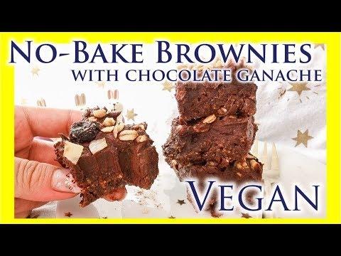 Vegan No-Bake Brownies with Chocolate Ganache Recipe|LadyMoko