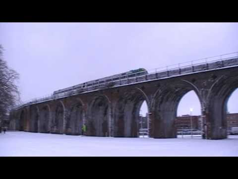 London Midland City Train Crossing Worcester River Severn Railway Bridge & Viaduct 6th January 2010