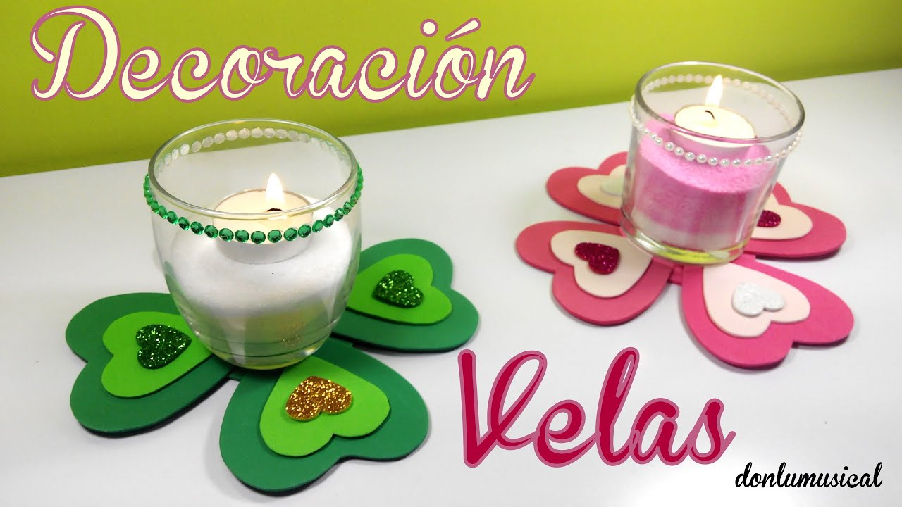 Manualidades san valent n velas decoradas de sal youtube - Decoracion de velas ...