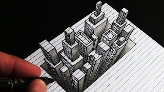 How to Draw a 3d City: Line Paper Anamorphic Drawing