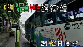 미얀마 양곤을 누비는 한국 중고버스 들,미얀마로 수출한…