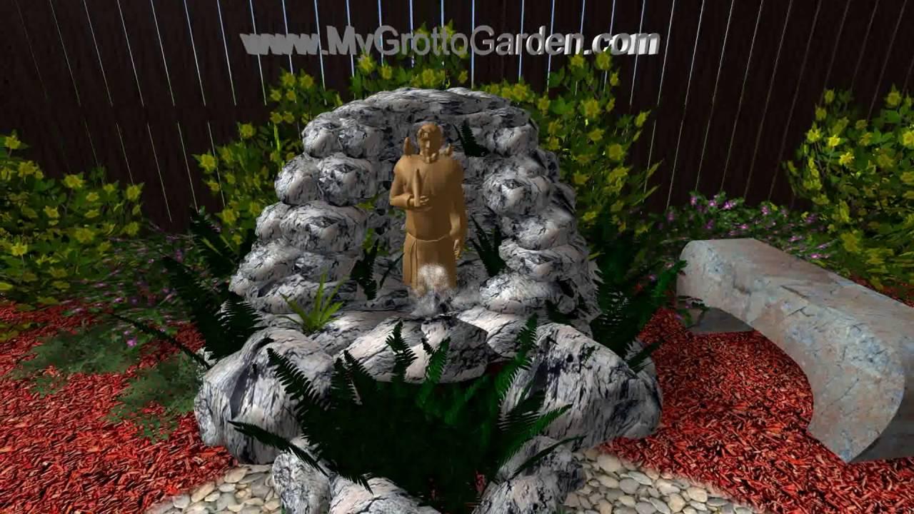 3D Garden Grotto Design Tan Statue Grey Rock