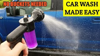 Easy way to wash a car. 8 pattern hose spray nozzle with soap dispenser. NO BUCKETS NEEDED!!