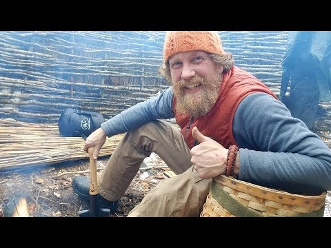Winter Survival Shelter Finished and Moving In (87 days episode 20)
