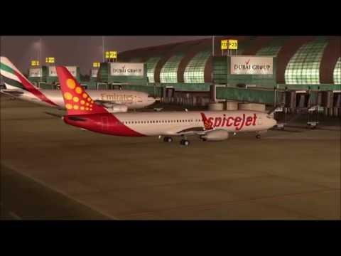 BOEING 737 800WL SPICEJET LANDING AT DUBAI INTL AIRPORT FS9 HD