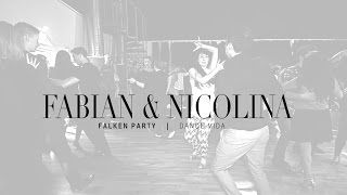Salsa Line style Fabian and Nicolina at Falken party Dance Vida