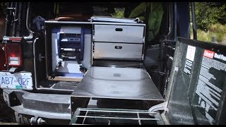 Overland adventure jeep with rooftop tent, and specifically built Kitchen setup.