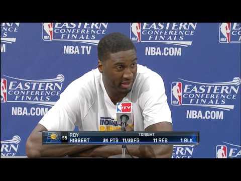 Roy Hibbert curses during press conference
