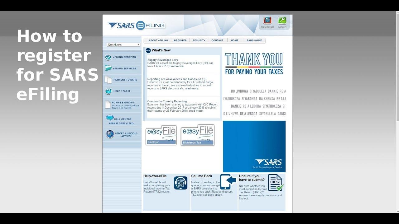 How to Register for SARS eFiling
