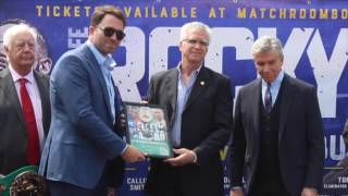MICHAEL BUFFER PRESENTS EDDIE HEARN WITH AN AWARD FROM WBC ON LIVERPOOL / REAL LIFE ROCKY STORY