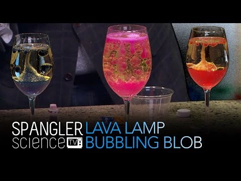 bubbling lava lamp How to make a lava lamp: fill the container with 2 parts oil, 1 part water (leave some room at the top of the container for a little bit of bubbling).