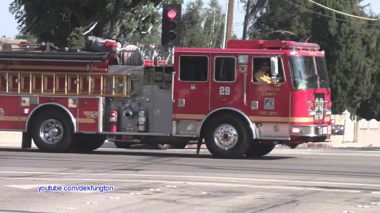 Los Angeles County Fire Engines Responding 29 And 184