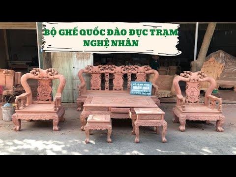 Bộ Bàn Ghế Minh Quốc Đào Chim Gỗ Hương - Chú Vinh Hưng Yên