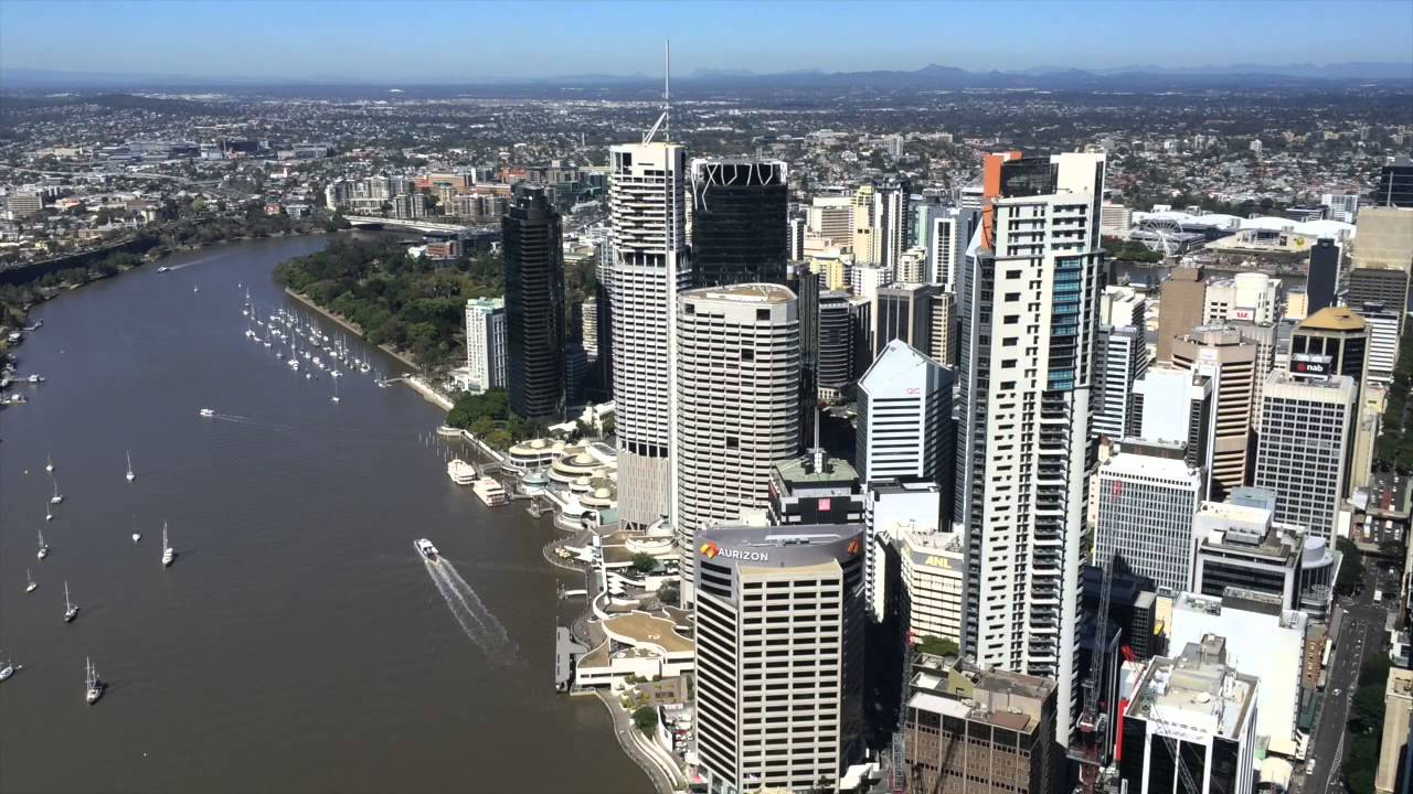 Sunny Day Aerial View of Brisbane From the top of the ...