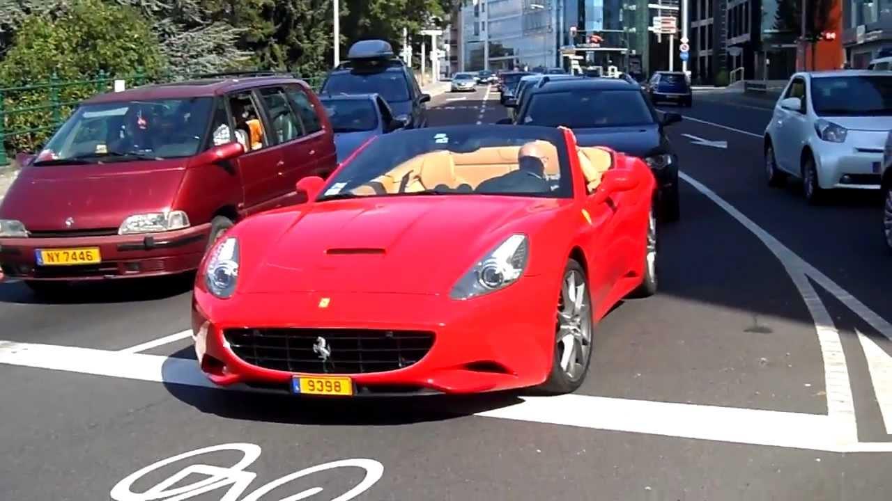 Acceleration of a Ferrari California in Luxembourg - YouTube