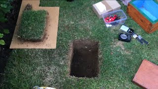 Digging a hole to bury a treasure chest in my garden!