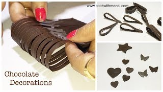 How to make chocolate decorations recipe | Chocolate decorations for cakes | Chocolate hacks