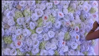 Фотостена из бумажных цветов для свадебной фотосессии