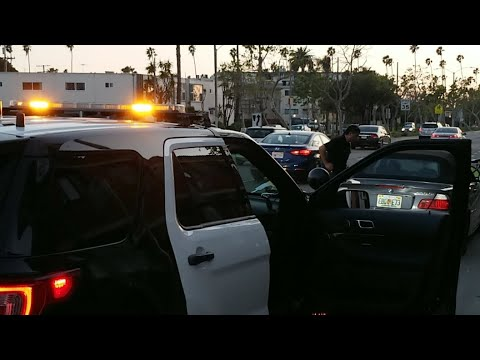 lapd pacific division on a traffic stop florida License Plate don't match his car