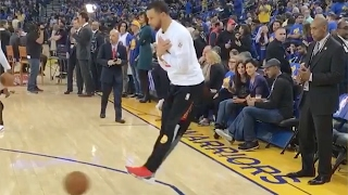"""WTF?! Steph Curry Plays """"Human Foosball"""" With..."""