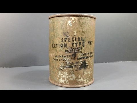 1944 WW2 British Special Ration Type C MRE Review Eating 70 Year Old Canned Military Meal (RAF)