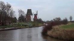 Zwillingsmühlen in Greetsiel, zerstörte grüne Mühle 2013