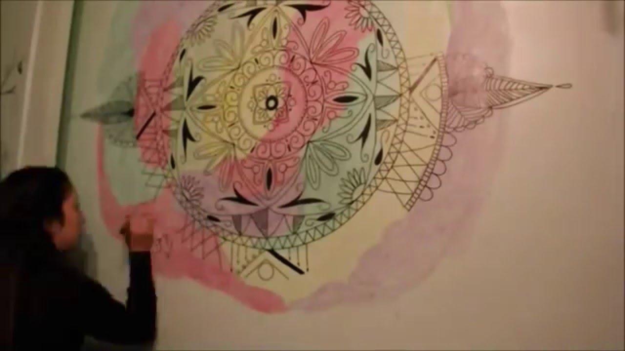 Diy mandala en pared efecto acuarela cony youtube for Mandalas de decoracion para pared