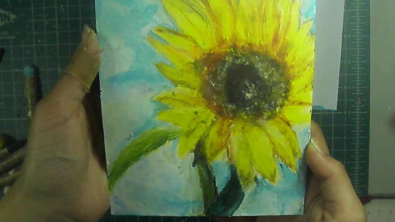 sunflower in oil pastels youtube