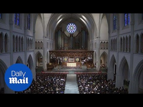 Guests begin to fill church pews for Barbara Bush's Funeral - Daily Mail